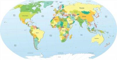 Наклейка Политическая карта мира в цвете