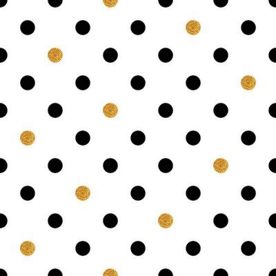 Наклейка Полька бесшовного фона в золотом и черном цветах.