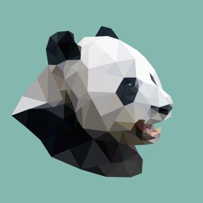 Наклейка polygonal panda, polygon abstract geometric animal, vector illus