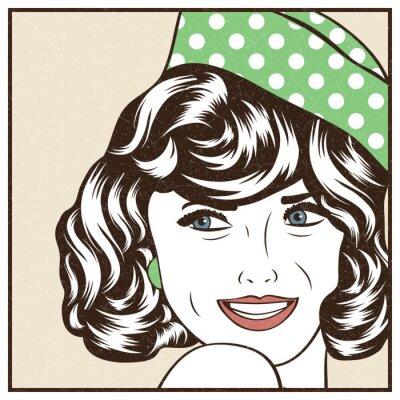Наклейка Поп-арт иллюстрация девушки