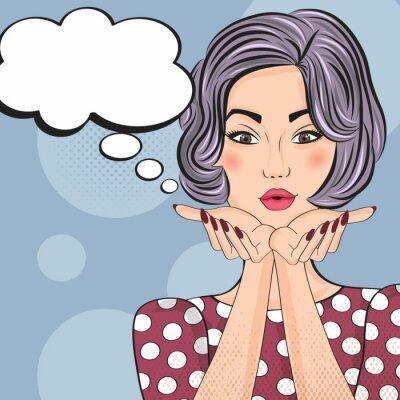Наклейка Поп-арт иллюстрация девушки с речи пузырь