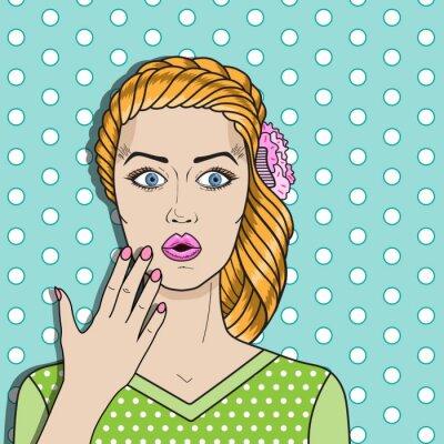 Наклейка Поп-арт женщина путать, красные волосы женщина удивлен. Комикс женщина вектор.