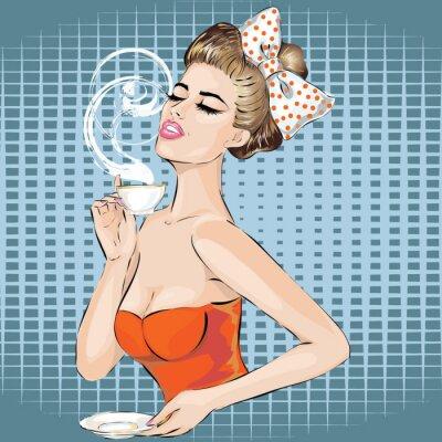 Наклейка Поп-арт портрет женщины с утренней чашкой чая. Pin вверх девушка