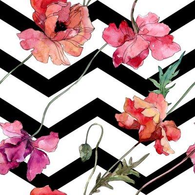 Наклейка Poppy floral botanical flower. Watercolor background illustration set. Seamless background pattern.