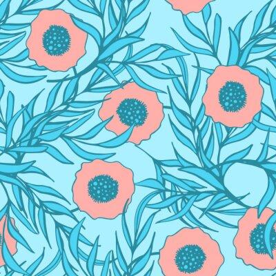 Наклейка Мак цветок вектор бесшовные модели. Ручной обращается рисунок ткани чернила для печати цветочные текстиля. Коралловые красные маки и ветви голубой оставляет естественный дизайн.