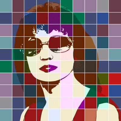 Наклейка Портрет женщины с эффектом цветного стекла