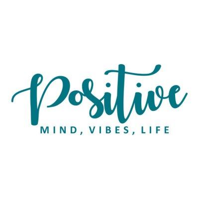Наклейка Positive mind, vibes, life. Vector motivation phrase.