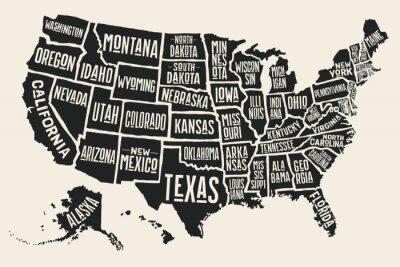 Наклейка Плакат карта Соединенных Штатов Америки с государственными именами. Черно-белая печать карта США за футболку, плакат или географические темы. Ручной обращается черный карта с государствами. векторные