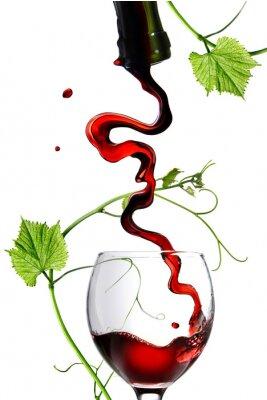 Наклейка Красное вино в стакан с стержня, изолированных на белом