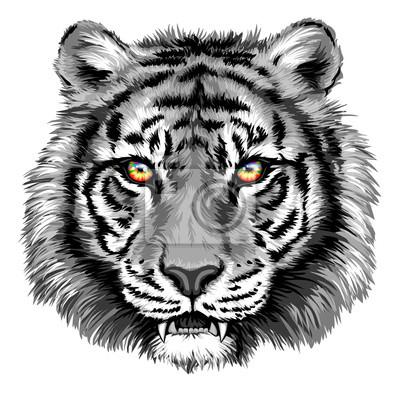 Наклейка Мощный тигр с яркими глазами