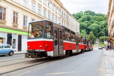 Наклейка Прага красный трамвай деталь, Чехия