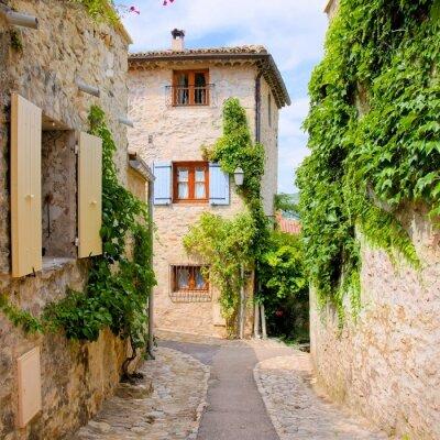 Наклейка Довольно каменные дома в причудливый деревне в Провансе, Франция