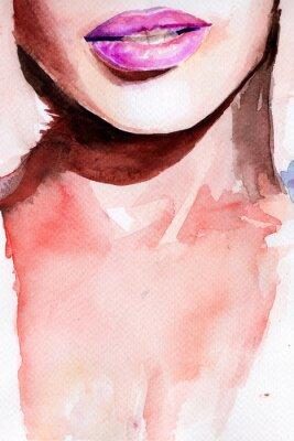 Наклейка фиолетовая помада. акварель губ