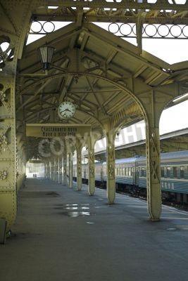 Наклейка Железнодорожный вокзал - 5 - Железнодорожный вокзал платформа с висящим часы,