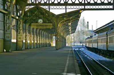 Наклейка Железнодорожный вокзал, часы, и