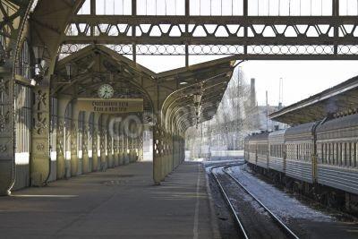 Наклейка Railroad station platform with a hanging clock and