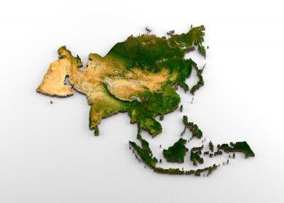 Наклейка Реалистичная трехмерная экструдированная карта азиатского континента (включая Индийский субконтинент, Восточную Азию, Россию и Ближний Восток)