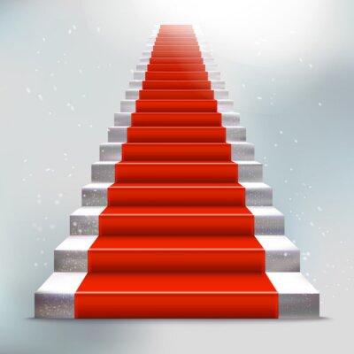 Наклейка Реалистичная камень лестница с красной ковровой дорожке и света