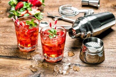 Наклейка Красный напиток со льдом. бар Коктейль инструменты для приготовления