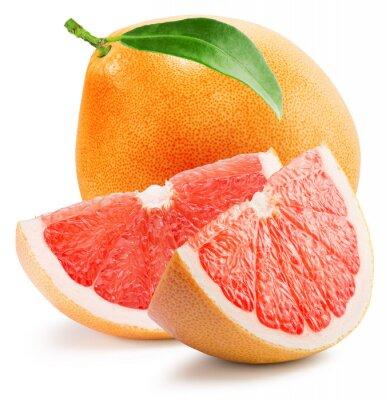 Наклейка красный грейпфрут с ломтиком изолирован на белом фоне