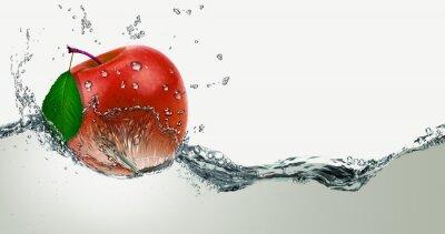 Наклейка Red,juicy Apple in a spray of water.