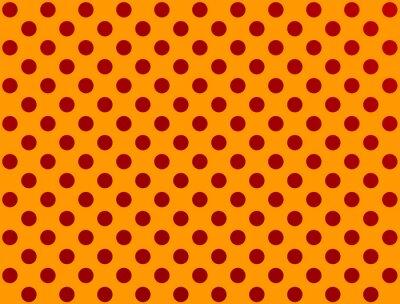 Наклейка красный горошек на оранжевом фоне