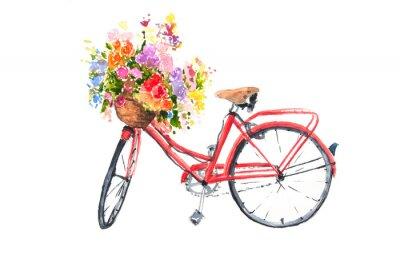 Наклейка Красный ретро-велосипед с яркими цветами в корзине, акварельный иллюстратор, велосипедное искусство, может использоваться для украшения дома