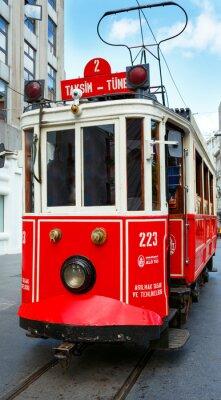 Наклейка Красный ретро трамвай на Таксим Истикляль-стрит