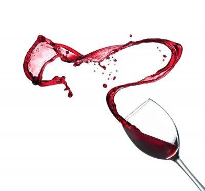 Наклейка Красное вино брызг из стекла, изолированных на белом фоне