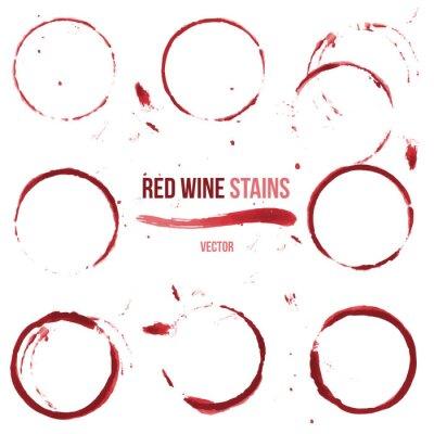 Наклейка Красное вино пятна на белом фоне
