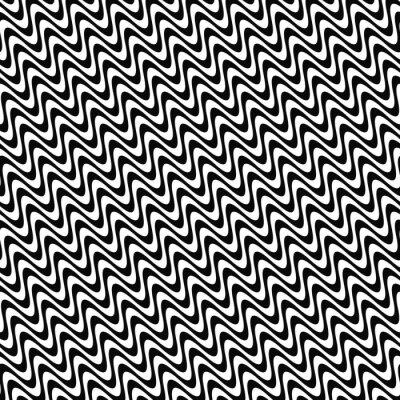 Наклейка Повторяя черно-белый узор волны