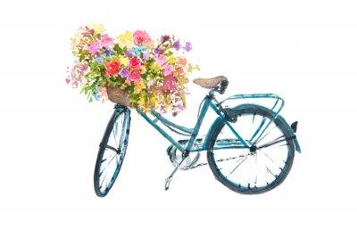 Наклейка Ретро синий велосипед с цветком на белом фоне, акварельный иллюстратор, велосипед