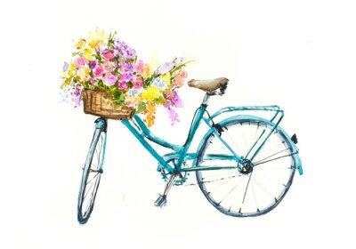 Наклейка Ретро синий велосипед с цветами в корзине на белом изоляции, акварель руки, нарисованные на бумаге