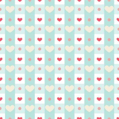 Наклейка Ретро бесшовные шаблон с небольшой сердцем на фоне зонтик