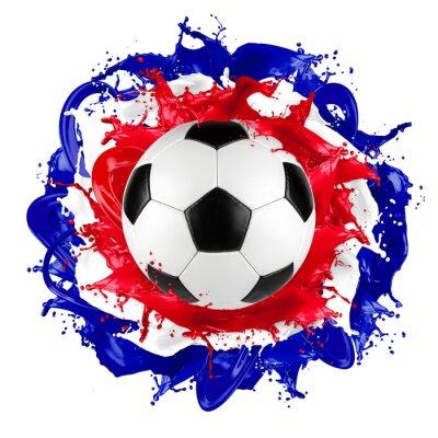 Наклейка ретро футбольный мяч цвет всплеск французский флаг