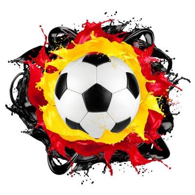 Наклейка ретро футбольный мяч цвет всплеск немецкий флаг