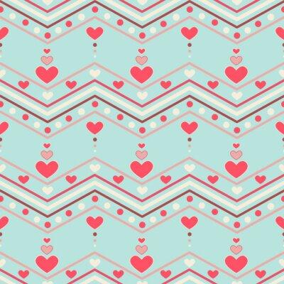 Наклейка Ретро стиль шеврона бесшовные модели с сердцами