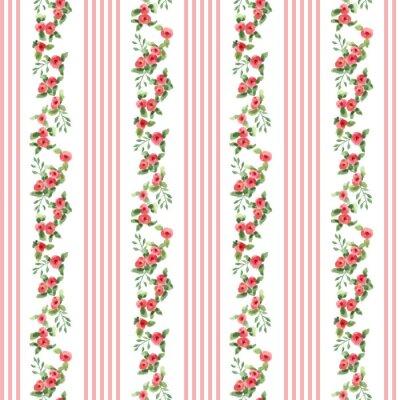 Наклейка ретро-стиле цветочный узор с полосами
