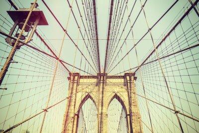 Наклейка Ретро тонированное изображение Бруклинский мост, Нью-Йорк.