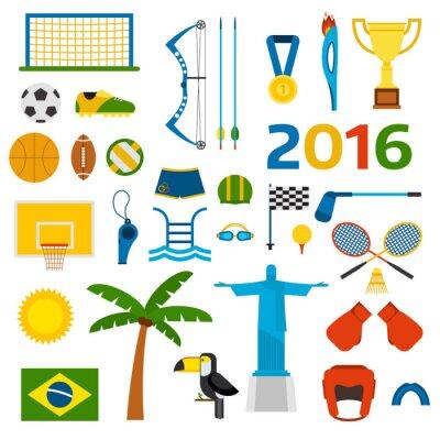 Наклейка Рио-летние Олимпийские игры иконки векторные иллюстрации