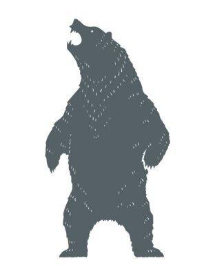 Наклейка Ревущий медведь Силуэт