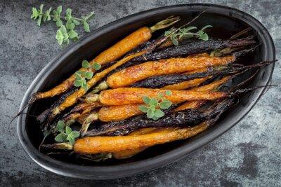 Наклейка Жареные морковью ребенка Горизонтальный вид сверху