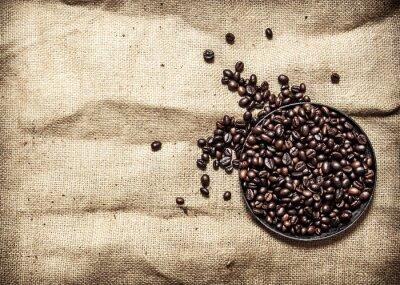 Наклейка Жареный кофе в кастрюле.