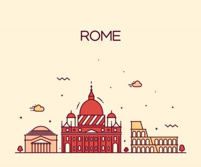 Наклейка Рим Город горизонта подробные векторные линии искусства стиль