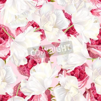 Наклейка Rose tulip seamless pattern