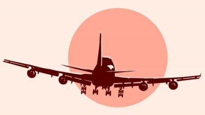 Наклейка Круглый логотип иллюстрация полет самолет.