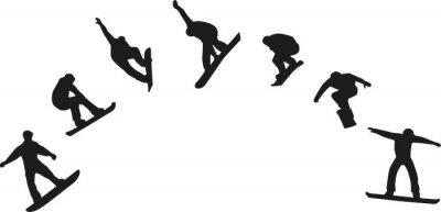 Наклейка Ряд силуэтов сноуборд прыжки