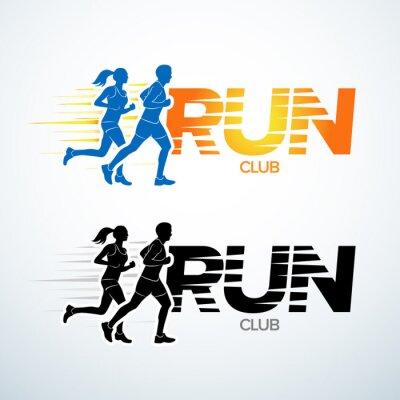 Наклейка Запустить шаблон логотипа клуба. шаблон логотипа Спорт, спортивный клуб, работает клуб и фитнес-шаблон вектор дизайн логотипа. Мужчина и женщина, фитнес.