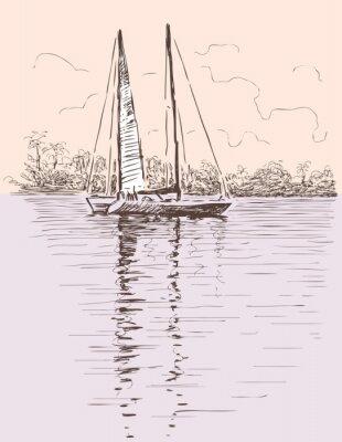 Наклейка парусное судно на берегу