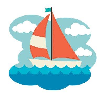 Наклейка Парусная лодка на волнах